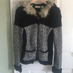 Anthropologie zip up sweater with faux fur hoodie